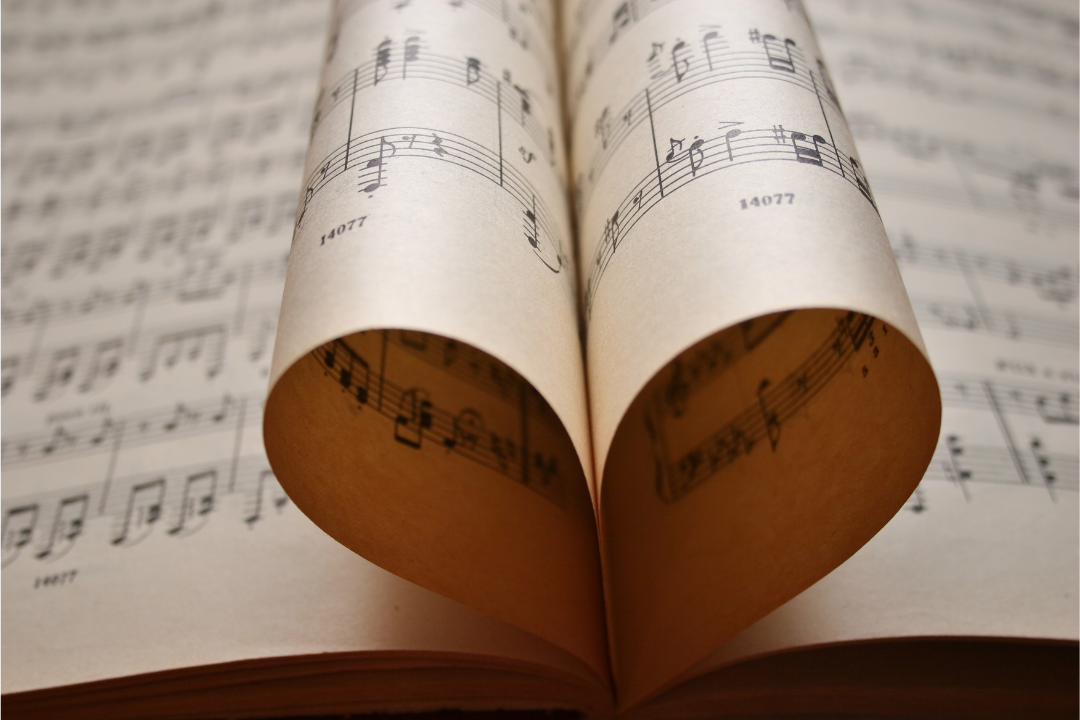A hymn book with the pages shaped like a heart